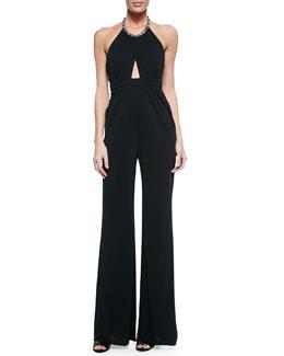 Cutout Jeweled Halter Jumpsuit, Black