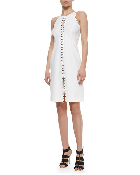 Grommet-Trimmed Keyhole Dress, White