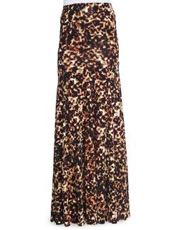 Tortoise-Print Bias-Seamed Skirt, Brown