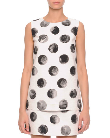 Sleeveless Painted Polka Dot Top, White/Black