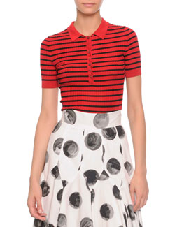 Striped Ribbed Polo Shirt, Red/Black
