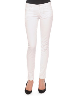 Flat-Front Slim Pants, White