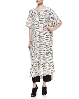 Striped Mixed-Print Long Caftan, Cream/Black