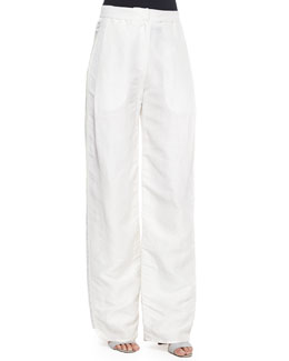 Side-Pleated Wide-Leg Trousers, Ivory
