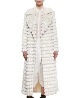 Fringe Tassel-Embroidered Coat, Cream