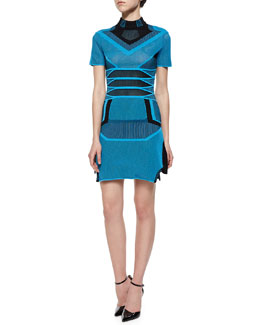 Short-Sleeve Bicolor Mesh Stripe Dress