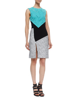Asymmetric Colorblock Sheath Dress