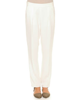 Pleated Gabardine Tapered Pants, White