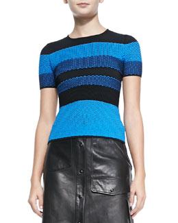 Short-Sleeve Bicolor Mesh Top, Plasma Blue
