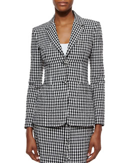 Gingham Seersucker Contrast-Vented Jacket