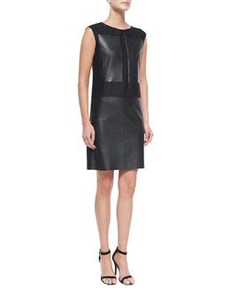 Leather & Wool/Silk Combo Sheath Dress