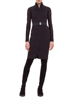 Zip-Front Contrast-Inset Jersey Dress
