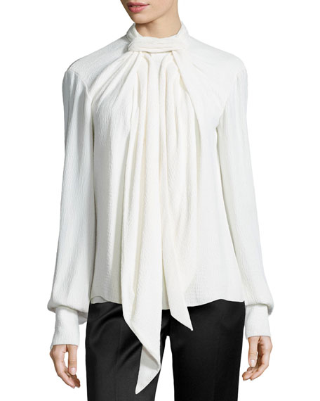 Crinkled Crepe Scarf Blouse