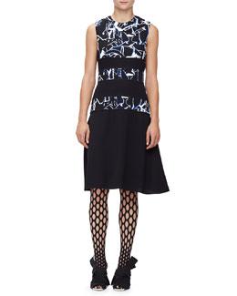 Sleeveless Scribble-Print Dress, Black/Indigo Shattered