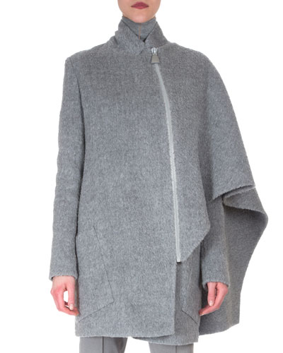 Asymmetric Draped Cape Jacket