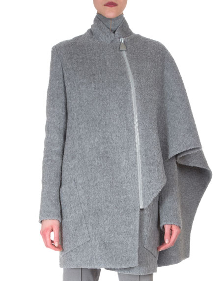 Akris Asymmetric Draped Cape Jacket