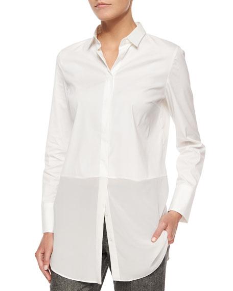 Long-Sleeve Silk-Hem Shirt, White