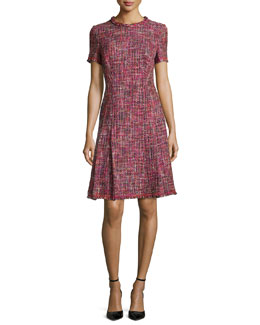 Braided-Trim Pleated Tweed Dress