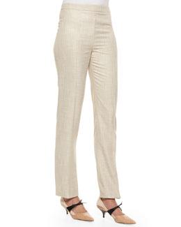 Speckled Skinny-Leg Trouser, Dove Gray