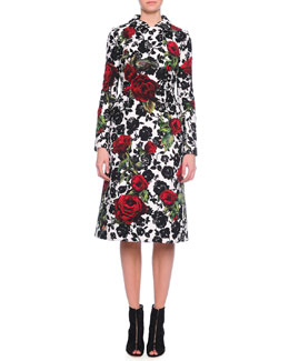 Double-Breasted Floral-Print Coat, Red/White/Black