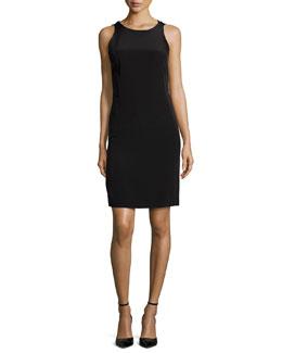 Sleeveless Ruffle-Back Colorblock Sheath Dress, Black