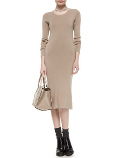 Metallic Long-Sleeve Midi Dress