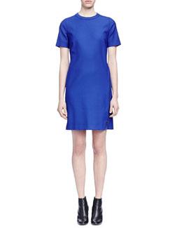 Wrap-Around-Zip Stretch Woven Dress, Royal Blue