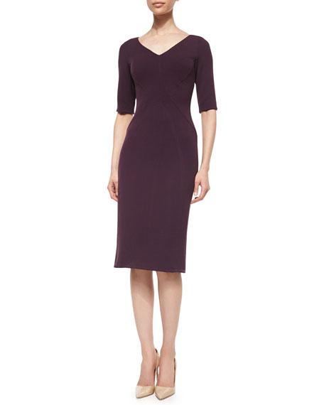 Half-Sleeve Fitted Sheath Dress, Plum