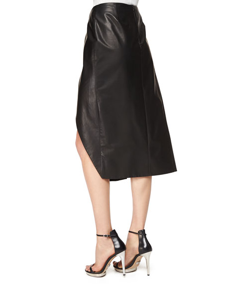 Faux-Wrap Pleated Leather Midi Skirt
