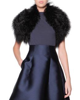 Curly Lamb Shearling Fur Collar, Black