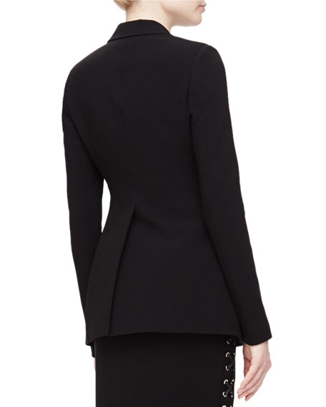 Merrie Lace-Up Sided Long Blazer, Black
