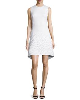 Sleeveless Neoprene Apron Dress, Off White