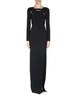 Bermuda Crepe Cutout Gown, Black