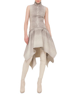 Whey-Print Asymmetric Dress