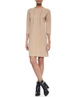 Cashmere Monili-Trimmed Tunic Dress
