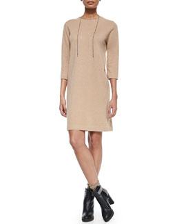 Cashmere Monili-Trimmed Tunic Dress