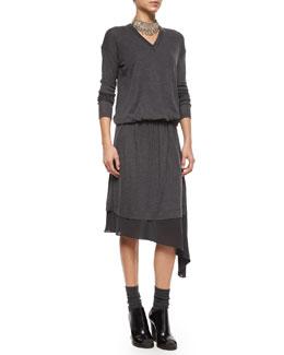 Asymmetric-Underlay Knit Dress