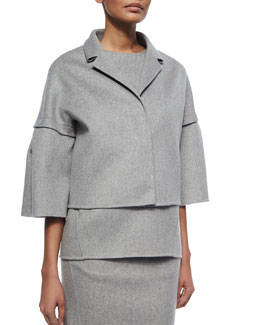 Cashmere Bell-Sleeve Coat, Gray