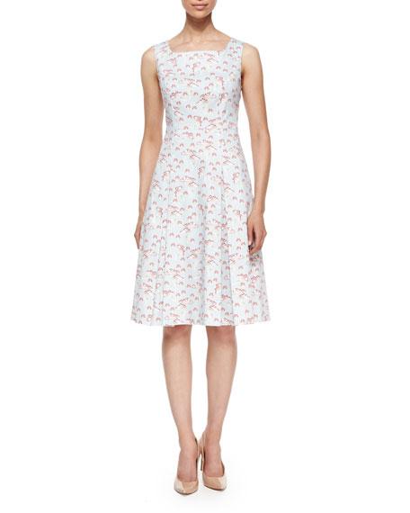 Square-Neck Mushroom-Print Tank Dress