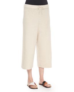 Cropped Cashmere/Silk Sweatpants, Cream