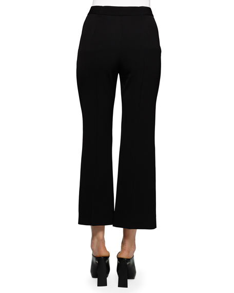Flared Gabardine Ankle Pants, Black