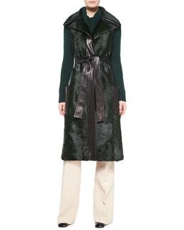 Sleeveless Calf Fur Leather-Trim Coat, Teal