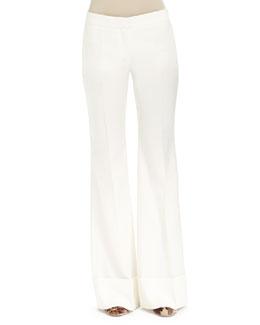 Low-Rise Boot-Cut Pants, Winter White