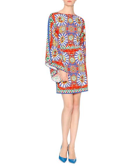 Full-Sleeve Carretto-Print Sheath Dress, Red/Yellow/Blue