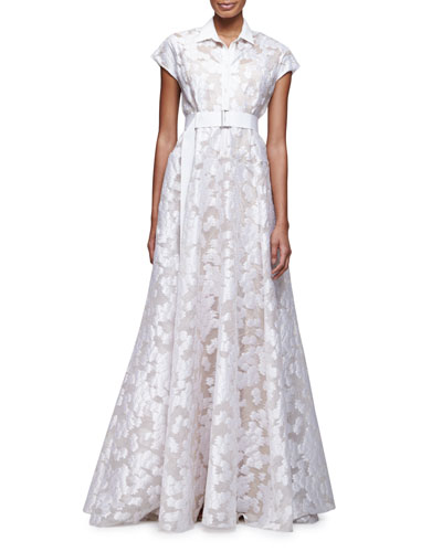 Cap-Sleeve Belted A-Line Gown, Ivory