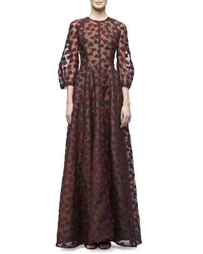 3/4-Sleeve Leaf-Embroidered Gown, Black/Crimson