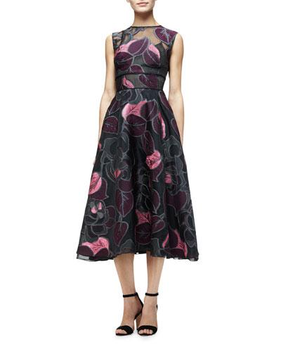 Sleeveless Linear-Leaf Midi Dress