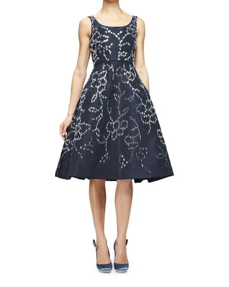 Sleeveless Floral-Embellished Dress, Navy/Silver