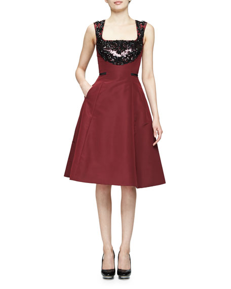 Sleeveless Embellished Fit-&-Flare Dress, Bordeaux