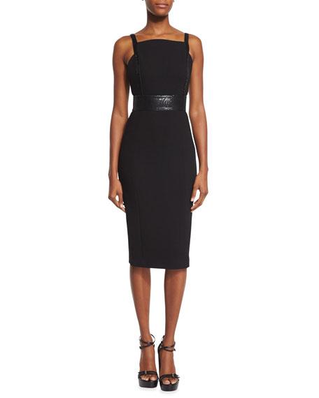 Low-Back Embellished Sheath Dress, Black